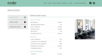 Evoke Hair   Makeup Salon North Sydney   Services   Prices